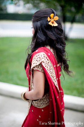 red,gold,bridal fashions,portraits,indian wedding bride,bridal portrait,indian bridal portrait,hair inspiration,Tara Sharma Photography,traditional ceremony sari traditional sari,sari for wedding ceremony