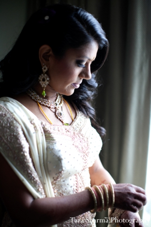Indian wedding reception bridal portrait in Jersey City, New Jersey Indian Wedding by Tara Sharma Photography