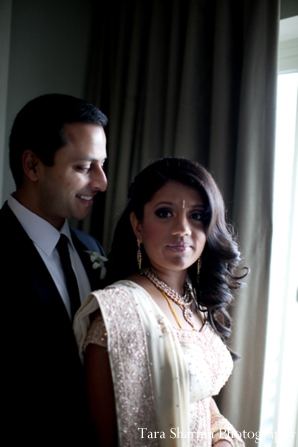Indian wedding reception couples portrait in Jersey City, New Jersey Indian Wedding by Tara Sharma Photography