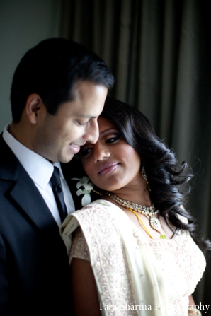 Indian wedding reception dress couple portraits in Jersey City, New Jersey Indian Wedding by Tara Sharma Photography