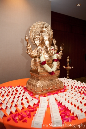 Indian wedding reception ganesha statue in Jersey City, New Jersey Indian Wedding by Tara Sharma Photography