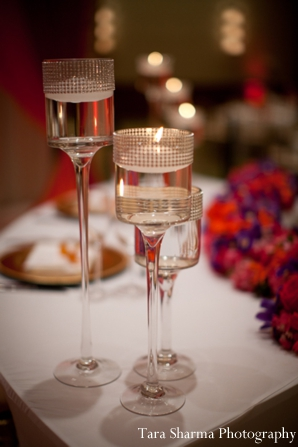 gold,Planning & Design,indian wedding reception,reception table setting,Tara Sharma Photography,wine glasses at wedding reception