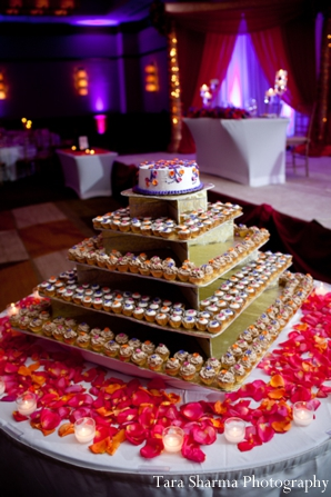 Indian wedding reception dessert table in Jersey City, New Jersey Indian Wedding by Tara Sharma Photography