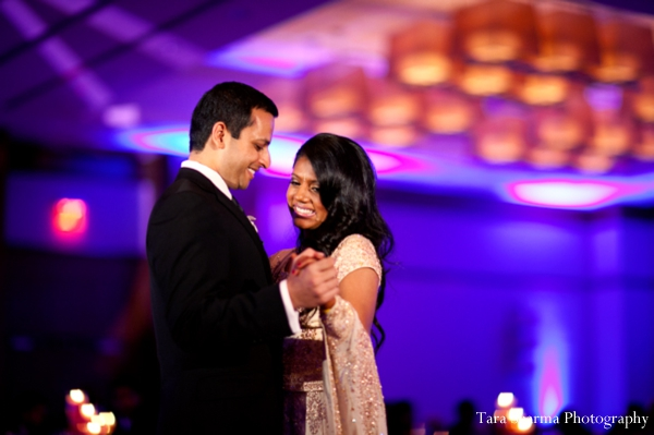 purple,reception lighting,indian wedding reception,dance floor lighting,wedding reception dance,bride and groom at wedding reception,Tara Sharma Photography