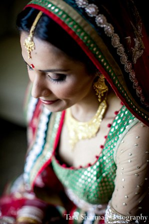 Indian wedding bride dupatta lengha emerald in Princeton, NJ Indian Wedding by Tara Sharma Photography