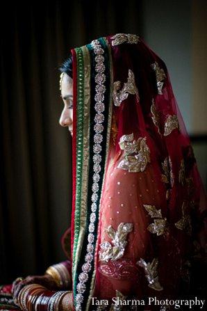 Indian wedding bride dupatta ruby getting ready in Princeton, NJ Indian Wedding by Tara Sharma Photography