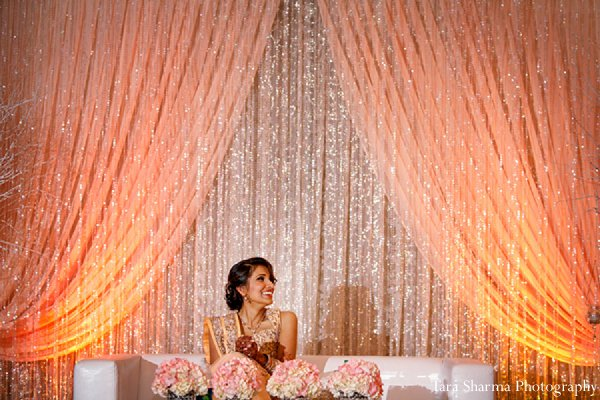 Indian wedding bride reception decor portrait in Princeton, NJ Indian Wedding by Tara Sharma Photography