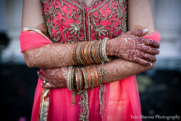 Indian wedding bride sangeet pink lengha in Princeton, NJ Indian Wedding by Tara Sharma Photography