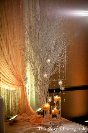 indian wedding floral decor reception peach