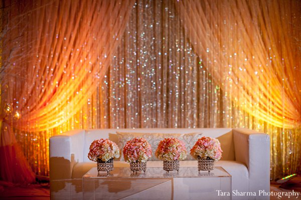 Indian wedding floral decor reception wedding stage in Princeton, NJ Indian Wedding by Tara Sharma Photography