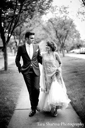 Indian wedding portrait black white bride groom in Princeton, NJ Indian Wedding by Tara Sharma Photography