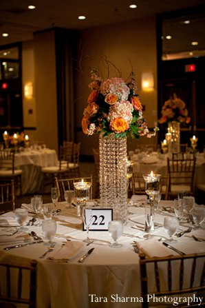Indian wedding reception floral decor centerpiece in Princeton, NJ Indian Wedding by Tara Sharma Photography