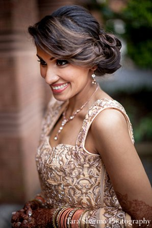 Indian-wedding-reception-lengha-bride-hair in Princeton, NJ Indian Wedding by Tara Sharma Photography