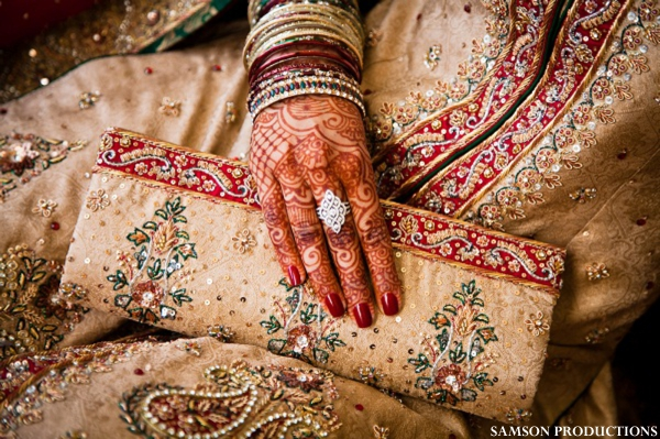 Indian-wedding-pakistani-bride-lengha-gold-red