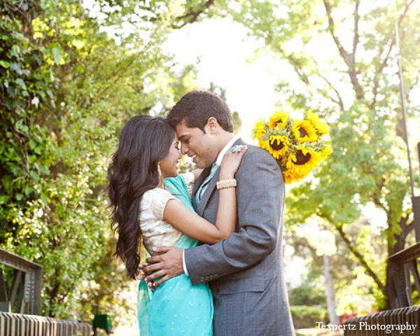 Indian engagement portraits blue sari sunflowers in Sweetheart Sunday Winners ~ Tajkia & Nafees by Texpertz Photography