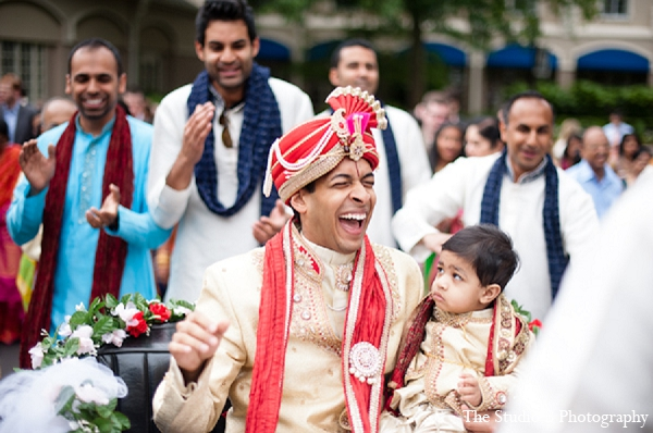 This Indian bride and groom celebrate their wedding festivities in North Carolina. They have a portrait session for their sangeet, wedding ceremony, and reception.