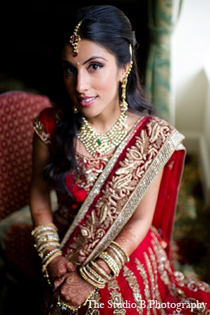 Indian wedding bridal fashion lengha in Durham, North Carolina Indian Wedding by The Studio B Photography