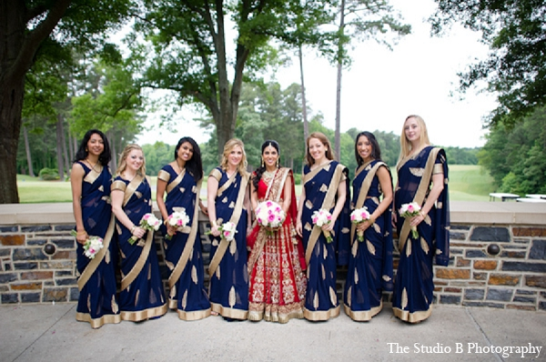 Indian wedding bridal party photography in Durham, North Carolina Indian Wedding by The Studio B Photography