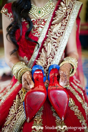 Indian wedding bride shoes photography in Durham, North Carolina Indian Wedding by The Studio B Photography