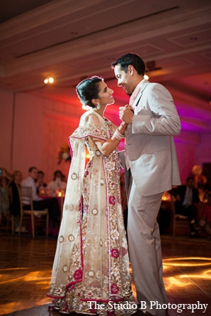 Indian wedding groom reception bride in Durham, North Carolina Indian Wedding by The Studio B Photography
