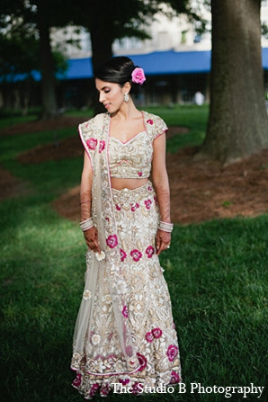 Indian wedding reception bride portraits in Durham, North Carolina Indian Wedding by The Studio B Photography
