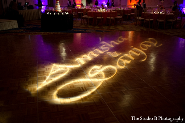 Indian wedding reception lighting venue in Durham, North Carolina Indian Wedding by The Studio B Photography