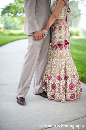Indian wedding reception portrait fashion in Durham, North Carolina Indian Wedding by The Studio B Photography