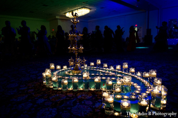 Indian wedding sangeet decor lighting in Durham, North Carolina Indian Wedding by The Studio B Photography