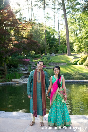 teal,hot pink,green,portraits,indian bride and groom,indian bride groom,photos of brides and grooms,images of brides and grooms,indian bride grooms,The Studio B Photography