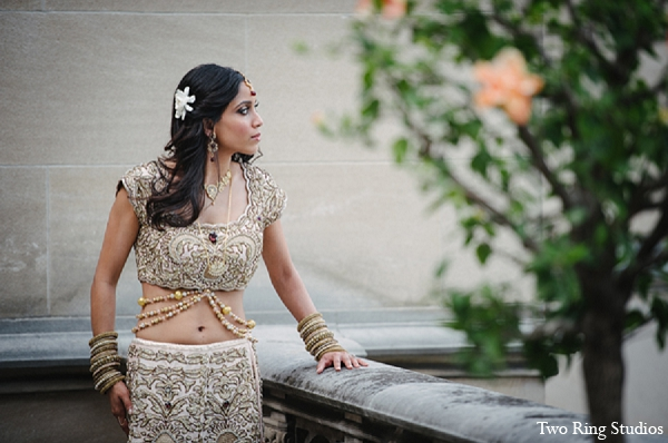 Indian bride fashion portraits outdoors in Asheville, North Carolina Indian Wedding by Two Ring Studios