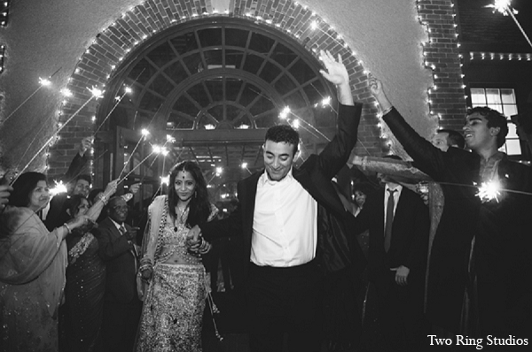 Indian wedding bride groom fireworks in Asheville, North Carolina Indian Wedding by Two Ring Studios