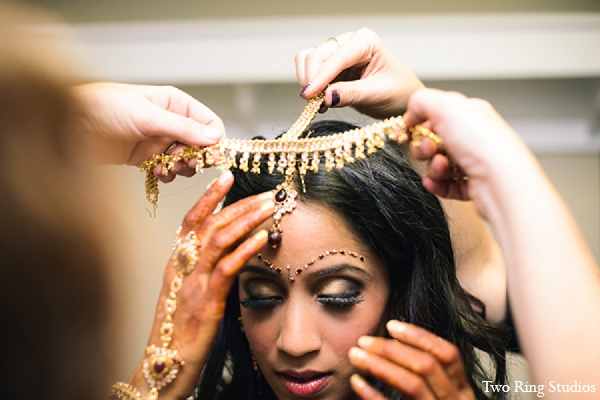 Indian wedding bride jewelry makeup in Asheville, North Carolina Indian Wedding by Two Ring Studios