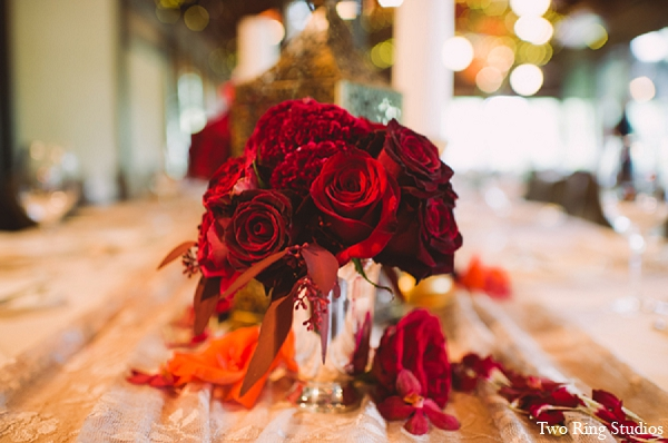 Indian wedding floral arrangments reception in Asheville, North Carolina Indian Wedding by Two Ring Studios