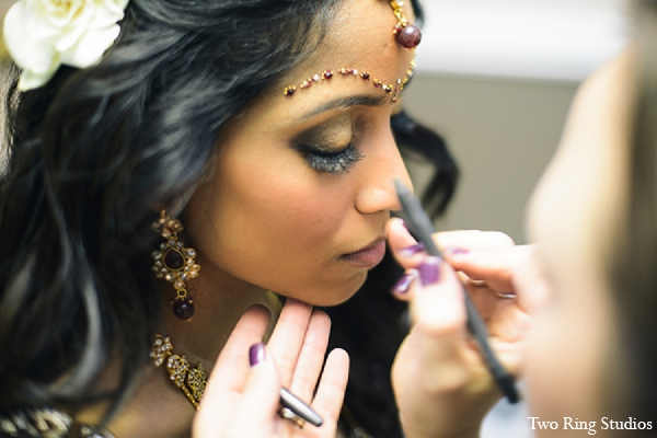 Indian wedding reception bride makeup in Asheville, North Carolina Indian Wedding by Two Ring Studios