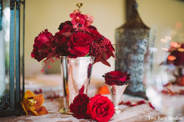 Indian wedding reception floral arrangements in Asheville, North Carolina Indian Wedding by Two Ring Studios