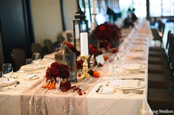 Indian wedding reception table setting in Asheville, North Carolina Indian Wedding by Two Ring Studios