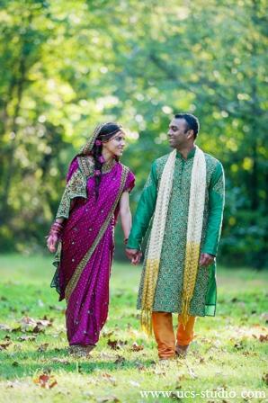 Indian-wedding-groom-bride-outdoors-portrait