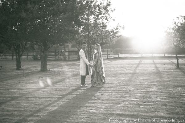 Indian wedding portrait bride groom black white
