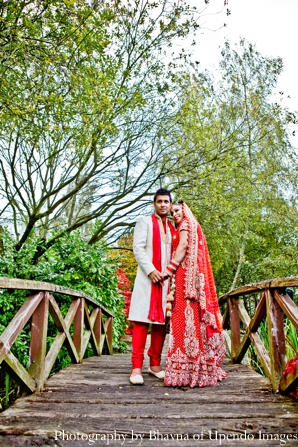 Indian wedding portrait bride groom bridge