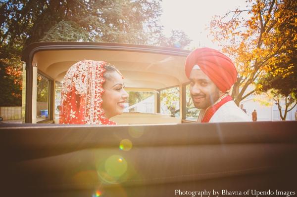 Indian wedding portrait bride groom car sunset