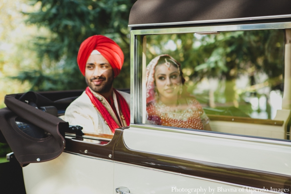 Indian wedding portrait bride groom car traditional