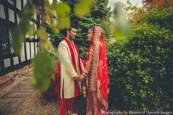 Indian wedding portrait bride groom garden