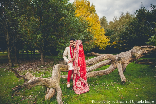 Indian wedding portrait bride groom outdoors