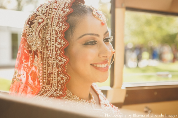 Indian wedding portrait bride sunset car