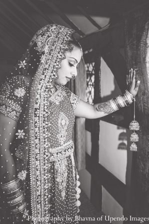 Indian wedding portrait bride traditional black white