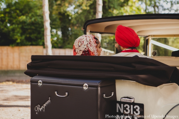 Indian wedding portrait groom bride car