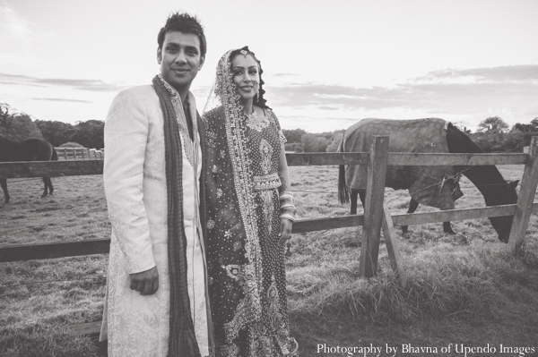 Indian wedding portrait groom nature bride black white