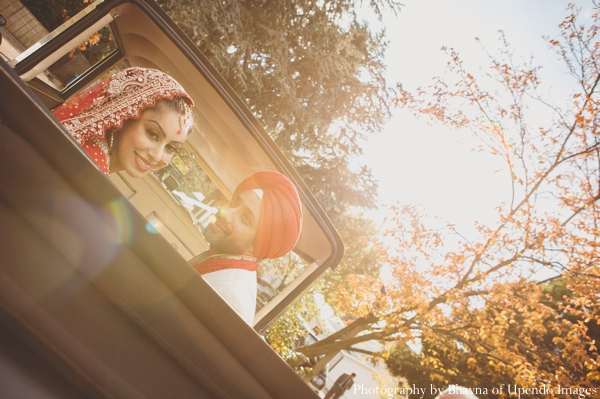 Indian wedding portrait sunset bride groom car
