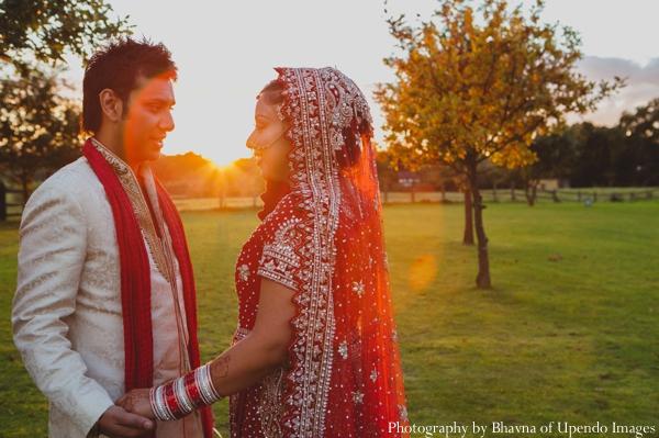 Indian wedding portrait sunset bride groom