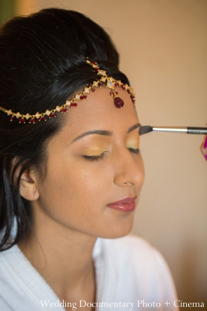 Indian wedding getting ready bride makeup